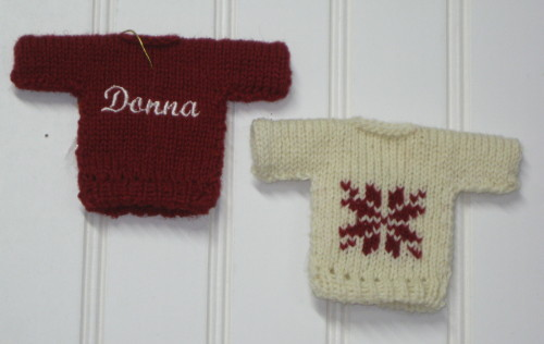 close up of knitted personalized sweater ornaments