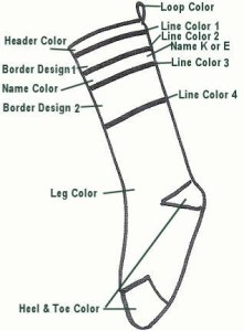 Color design layout for custom Christmas stocking order