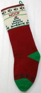 Dog Cranberry Christmas Stocking