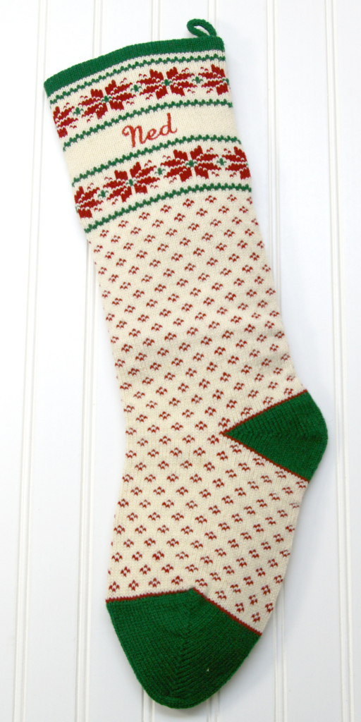 Personalized knit nordic style Christmas Stockings https://www.specialtiesinwool.com/styles/nordic/
