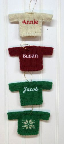 Personalized knit embroidered ornaments