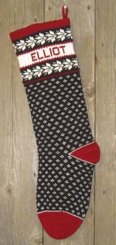 Nordic Style Sprig Design Wool Knit Christmas Stocking