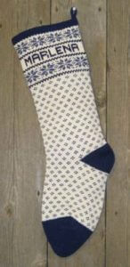 Nordic style snowflake design wool knit Christmas stocking