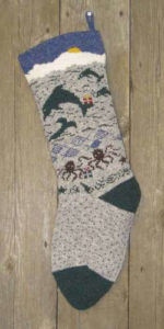 Dolphins on knit wool Christmas Stocking