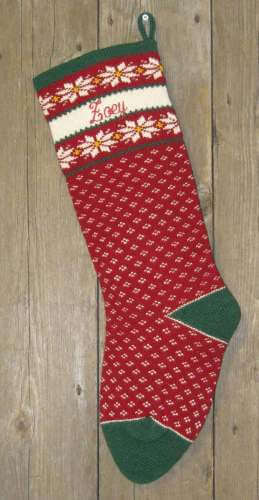 Nordic Style Poinsettia Design Wool Knit Christmas Stocking