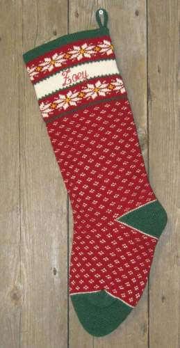 Nordic style pointsettia design wool knit Christmas stocking
