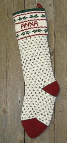Nordic style holly design wool Christmas stocking