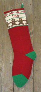 personalized gingerbread men Christmas stocking