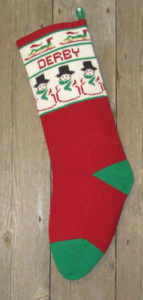 personalized snow man and sledders Christmas stocking