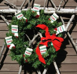 Christmas Stocking ornaments on wreath
