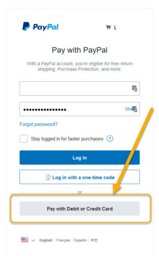 paypal without account