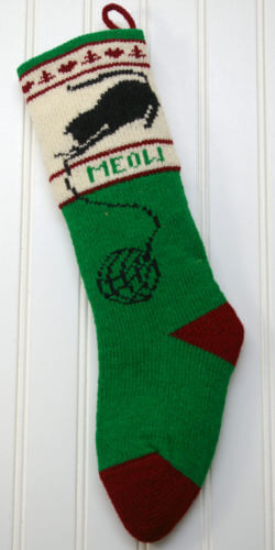 Green Cat Christmas Stocking